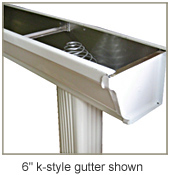 6 inch K style gutter top diagonal profile view with strainer in place
